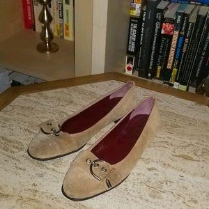 Coach Buckle Shoes Tan / Suede Combo Size 7
